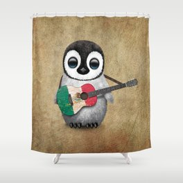 Baby Penguin Playing Mexican Flag Guitar Shower Curtain