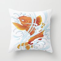 koi fish Throw Pillows featuring Koi Fish by Give me Violence