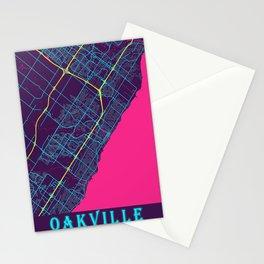 Oakville Neon City Map, Oakville Minimalist City Map Art Print Stationery Cards