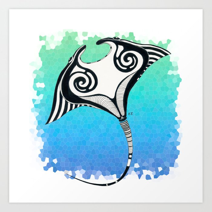 e44f1bdf1 Manta Ray Tribal Tattoo Ink Teal Blue Art Print by eveystudios ...