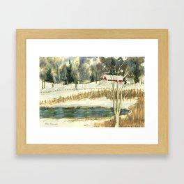Hibernation // Winter Landscape Watercolor Painting // Farm Life Framed Art Print