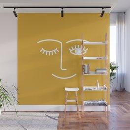 wink / mustard Wall Mural