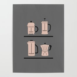 Volturno & French Press Coffee #4 medium grey & vintage pink Poster