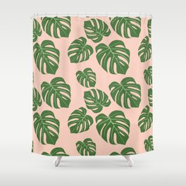 Monstera with pink background Shower Curtain