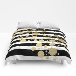 Faux Gold Paint Splatter on Black & White Stripes Comforters
