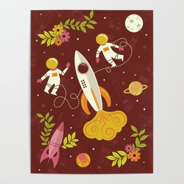 Astronauts in Space with Florals - Maroon Poster