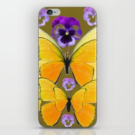 SPRING PURPLE PANSY FLOWERS & YELLOW BUTTERFLIES GARDEN iPhone Skin