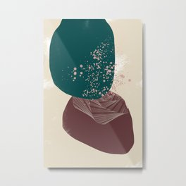 Rooted 8 Mid-Century Monoprint Metal Print