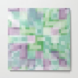 Soft Squares in Pastel Purple and Green Metal Print
