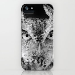 Screech Owl Stare Black and White iPhone Case