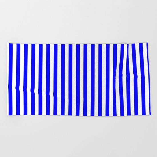 Vertical Stripes (Blue/White) Beach Towel
