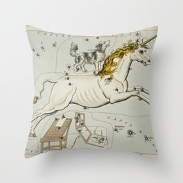 Sidney Halls (1831) astronomical chart  of the Monoceros, Canis Minor and the Atelier Typographique Throw Pillow