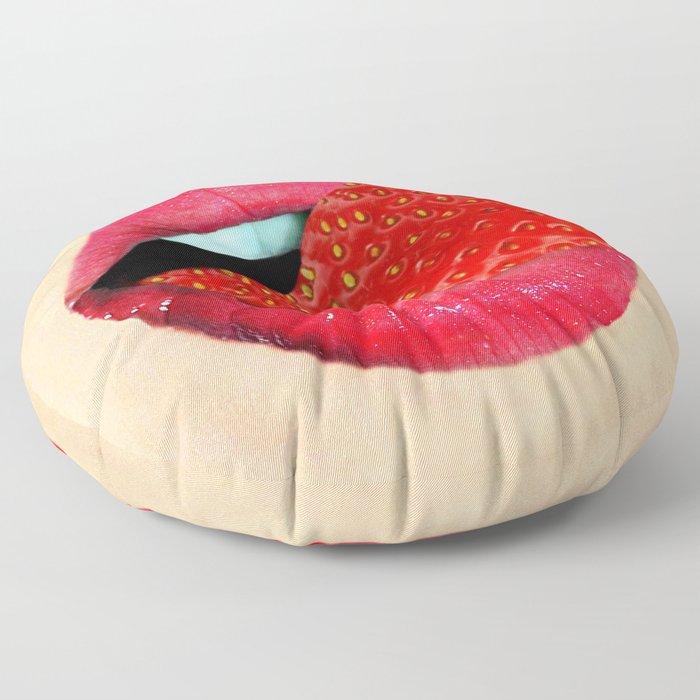 tongue mouth lips strawberry Floor Pillow