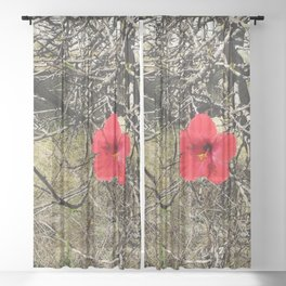 Being Alive - Red Hibiscus Flower Sheer Curtain