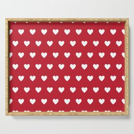 Polka Dot Hearts - red and white Serving Tray