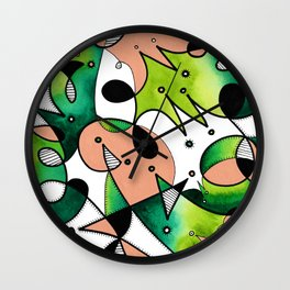 Beige Abstract Critters Wall Clock