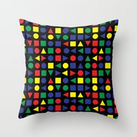 mid century Throw Pillows featuring Mid Century Geometric by dukepope