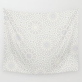 White Moroccan Tiles Pattern Wall Tapestry