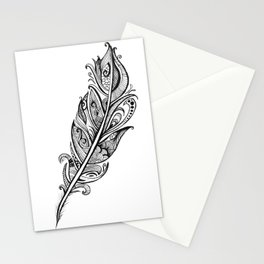 Black & White Feather Stationery Cards