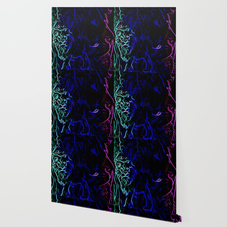 The Noble Neon Lion Wallpaper