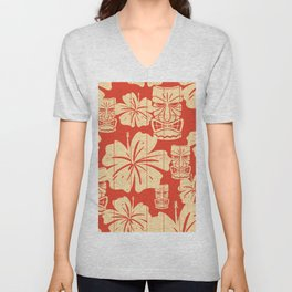 Tiki Pattern in Red Unisex V-Neck