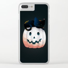 065 - tired kitty on the Halloween pumkpin Clear iPhone Case