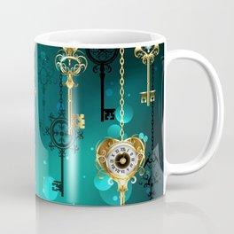 Antique Keys on Green Background ( Steampunk ) Coffee Mug