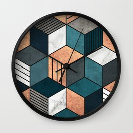 Copper, Marble and Concrete Cubes 2 with Blue Wall Clock
