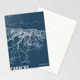 Caracas Blueprint Street Map, Caracas Colour Map Prints Stationery Cards