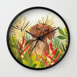 Little Dog with with Palm leaves Wall Clock