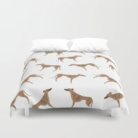 greyhound Duvet Covers featuring Tiger Greyhound by Maddy Vian