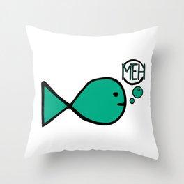 Meh Teal Fish Throw Pillow