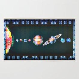 Trippy Tribal Print Solar System Space Scene Rug