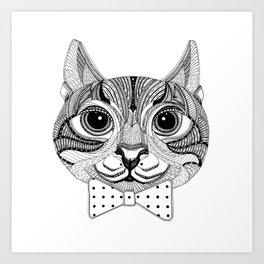 Mr Zebra Cat with Polka Dot Bow Tie Art Print