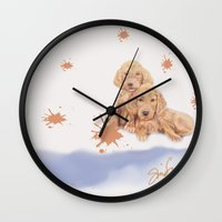puppies Wall Clocks featuring Puppies by Nancy Smith