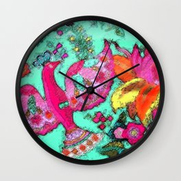 Bird and Flowers with lace Wall Clock