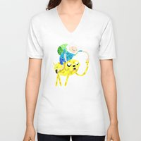 finn and jake V-neck T-shirts featuring Jake and Finn by victorygarlic