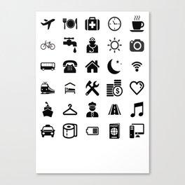 Basic black model: Traveler emoticon help for travel t-shirt Canvas Print