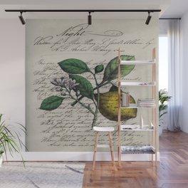 vintage Mediterranean summer fruit orchard citrus blossom yellow lemon Wall Mural