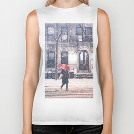 New York City Snow and Red Umbrella Biker Tank