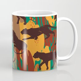 Safari orange green watercolor brushstrokes animal wild jaguar pattern Coffee Mug