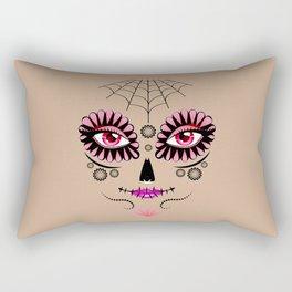 Pink floral sugar skull Rectangular Pillow