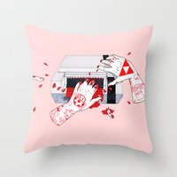 nintendo Throw Pillows featuring Nintendo Dentata by scoobtoobins