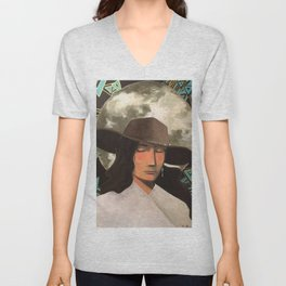 Portrait of A Southwestern Traveler with The Moon & Geometric Shapes In The Background Unisex V-Neck