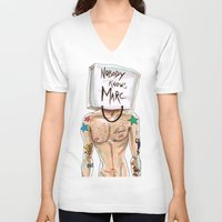 marc V-neck T-shirts featuring Nobody Knows Marc by REYALFASHION