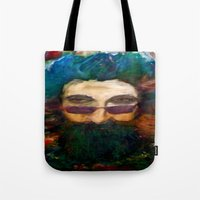 grateful dead Tote Bags featuring Jerry Garcia Watercolor Portrait Grateful Dead by Acorn