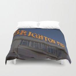 Brighton Pier at Night Duvet Cover