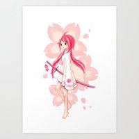 sakura Art Prints featuring Sakura by Freeminds
