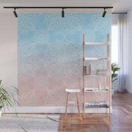 Pastel Dreams Mandala on Blue and Pink Linen Wall Mural