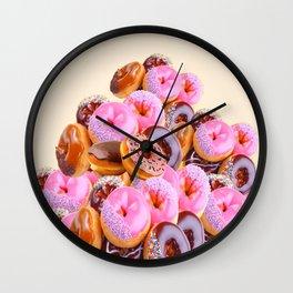 PHOTO PINK & CHOCOLATE  DONUTS ART Wall Clock